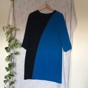 Ann Taylor colorblock A line dress 3/4 sleeves